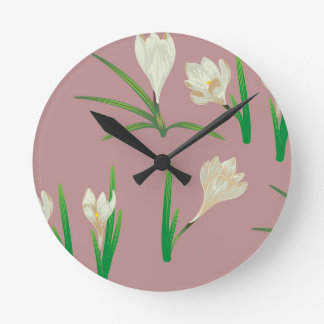White Crocus Flowers Round Clock