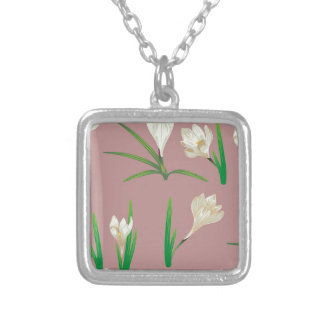 White Crocus Flowers Silver Plated Necklace