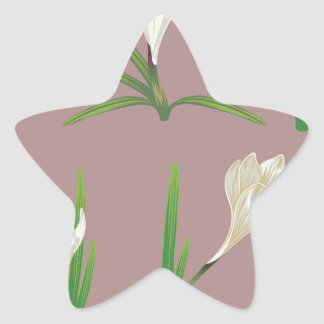 White Crocus Flowers Star Sticker
