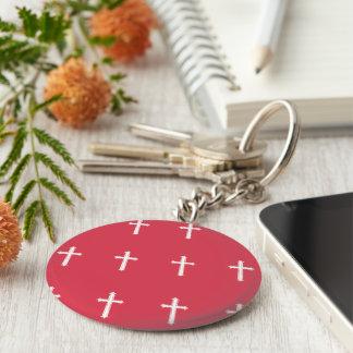 White cross basic round button keychain