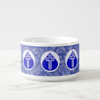 White Cross Blue Teardrop White Blue Background Chili Bowl