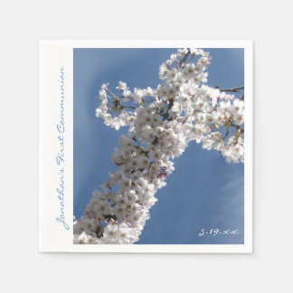 White Cross on Blue Sky 1st Communion Personalized Paper Napkins