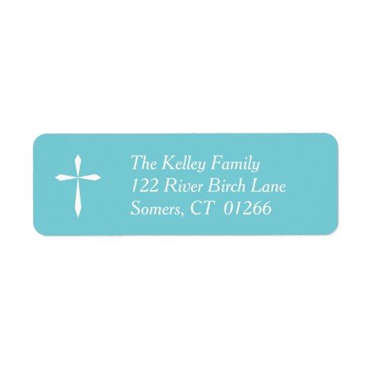 White Cross Religious Address Label, Blue Return Address Label
