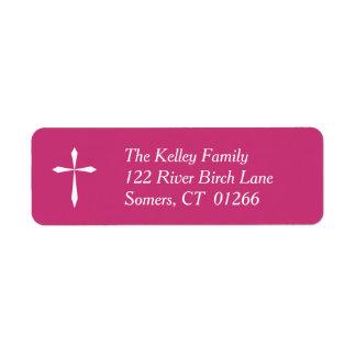 White Cross Religious Address Label, Hot Pink
