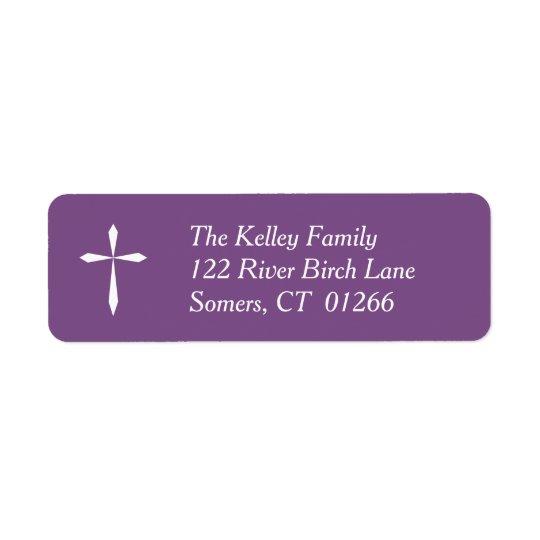 White Cross Religious Address Label, Purple Return Address Label