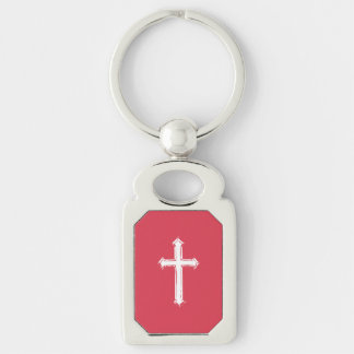 White cross Silver-Colored rectangle keychain