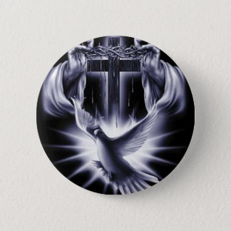 White Cross with Dove 2 Inch Round Button