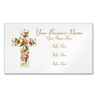White Cross With Pink Flowers Magnetic Business Card