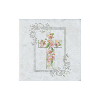 White Cross With Pink Flowers Stone Magnets