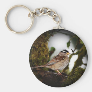 White-crowned Sparrow Bird Keychain