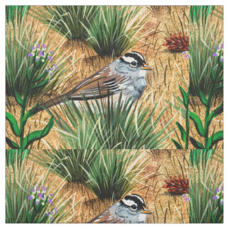 White Crowned Sparrow Fabric