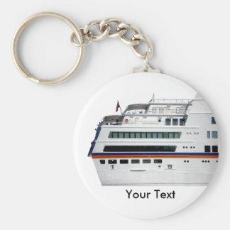 White Cruise Ship Covered Decks Keyring Basic Round Button Keychain