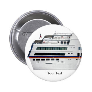 White Cruise Ship Covered Decks Name Tag 2 Inch Round Button