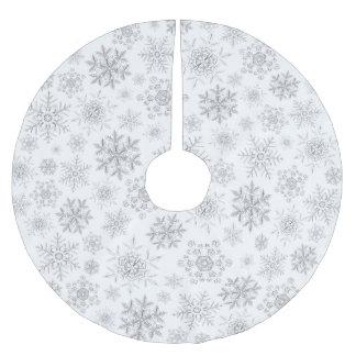 White Crystalline Snowflakes Tree Skirt