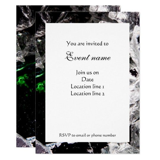 White Crystals in Black outer space Invitation