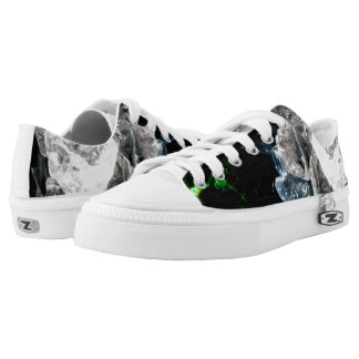 White Crystals in Black outer space Low-Top Sneakers