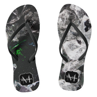White Crystals in Black outer space Monogram Flip Flops