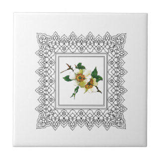 white cube frame flower ceramic tile