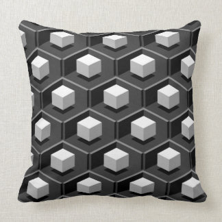 White Cube Pattern Isometric Throw Pillow