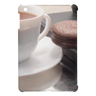 White cup of hot chocolate and cookies iPad mini covers