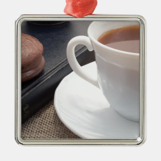 White cup of hot cocoa and a chocolate biscuit Silver-Colored square ornament