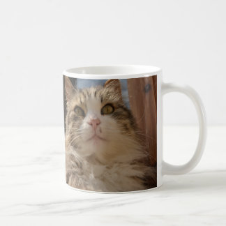 White cup with cat portrait