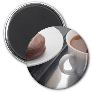 White cup with cocoa and chocolate covered biscuit 2 inch round magnet