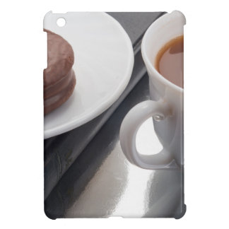 White cup with cocoa and chocolate covered biscuit case for the iPad mini