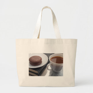 White cup with cocoa and chocolate covered biscuit large tote bag