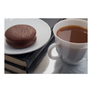 White cup with cocoa and chocolate covered biscuit poster
