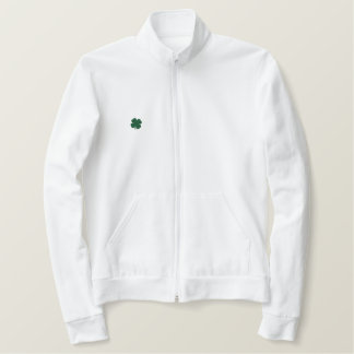 WHITE Custom St. Patricks Day Clover Long Sleeve Embroidered Jacket