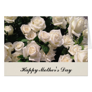 White Customizable Happy Mother's Day Roses Card