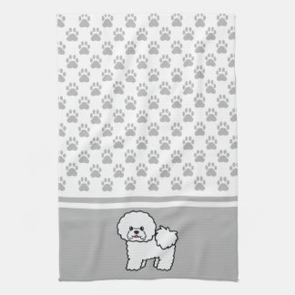 White Cute Bichon Frise Dog With Grey Paws Pattern Kitchen Towel