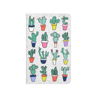White Cute Colorful Cactus Illustrations Pattern Journal