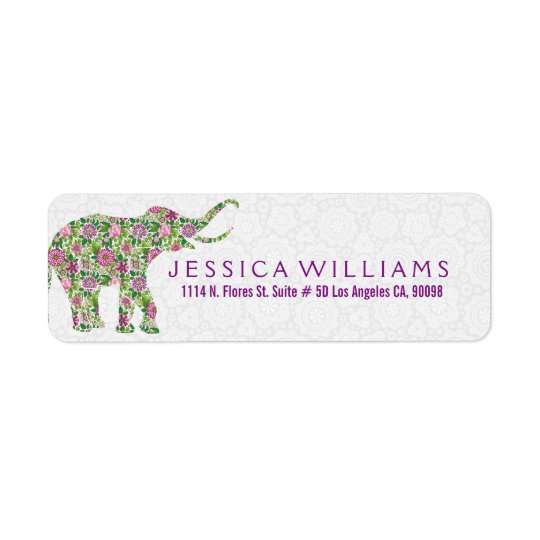 White & Cute Colourful Floral Elephant 2