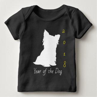 White Cute Dog Chinese New Year 2018 Black Baby T Baby T-Shirt