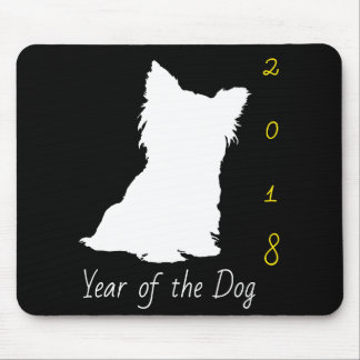 White Cute Dog Chinese New Year 2018 Black MouseP Mouse Pad