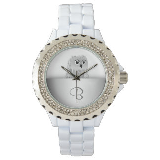 White Cute Owl Animal Monogram Watch