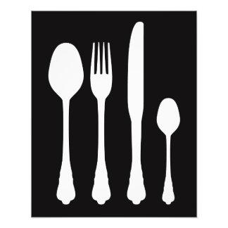 White Cutlery on Black Cafe Patisserie Restaurant Photo