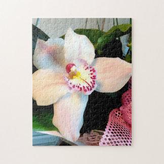 White Cymbidium Orchid Jigsaw Puzzle