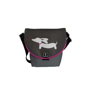 White Dachshund on Gray Background Commuter Bags