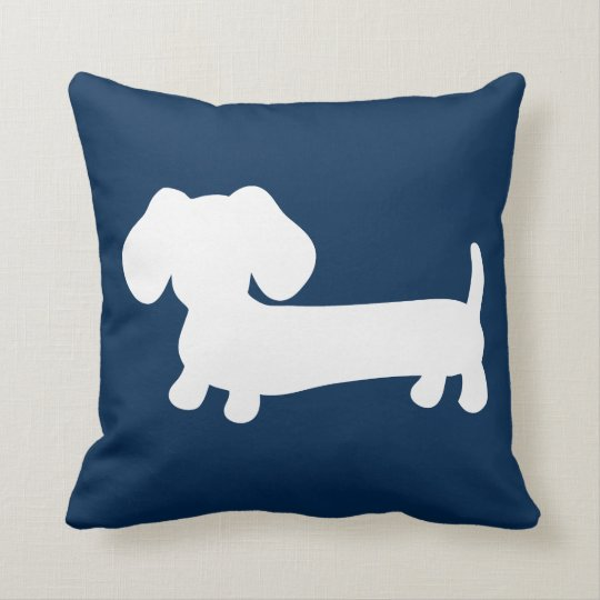 White Dachshund Puppy on Navy Pillow Medium