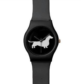 White Dachshund Silhouette Watch