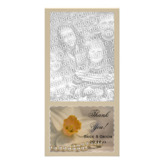 White Daffodil and Pearls Wedding Thank You Picture Card