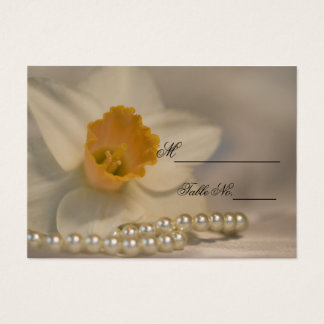 White Daffodil Pearls Spring Wedding Place Card