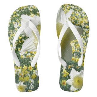 White Daffodils Flip Flops