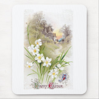 White Daffodils Vintage Easter Mouse Pad