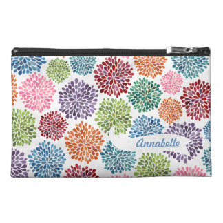 White Dahlia Flowers Designer Zippered Name Bag! Travel Accessory Bag