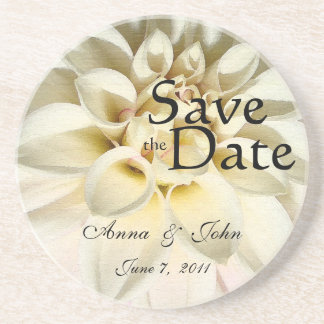 White Dahlia Save the Date Coaster