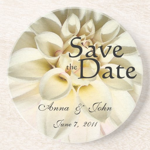 White Dahlia Save the Date Coaster